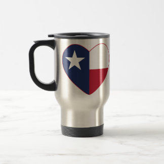 Texas Flag Heart Stainless Steel Travel Mug