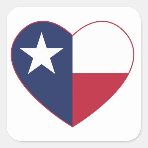 Texas Flag Heart Square Sticker