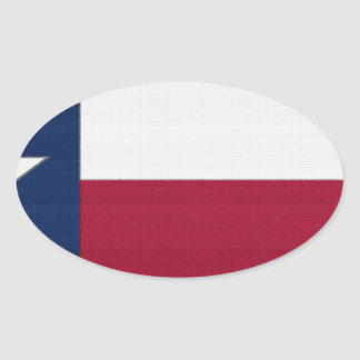 Texas Flag lone star state red white blue colors Oval Sticker