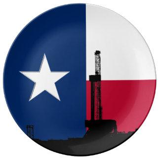 Texas Flag Oil Drilling Rig Porcelain Plates