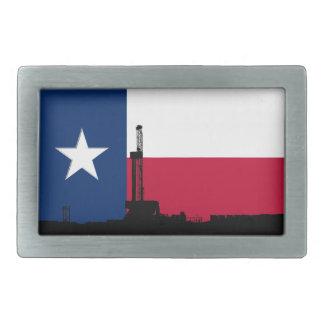 Texas Flag Oil Drilling Rig Rectangular Belt Buckle