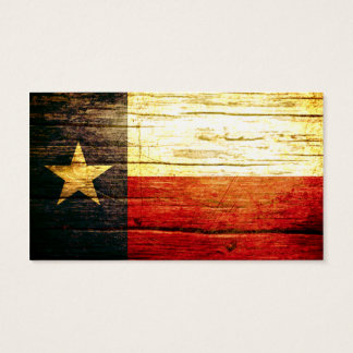 Texas Flag Old Wood Business Card