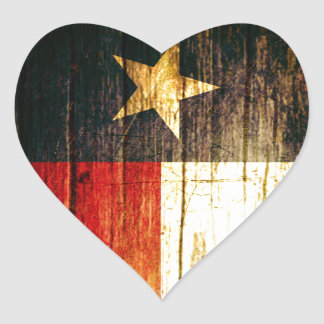 Texas Flag Old Wood Heart Stickers