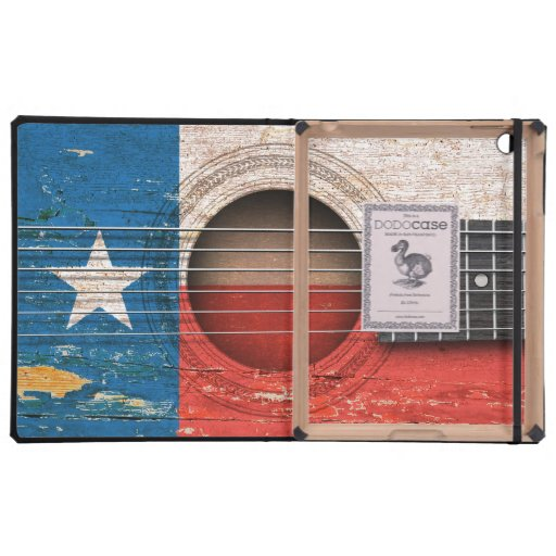 Texas Flag on Old Acoustic Guitar Case For iPad