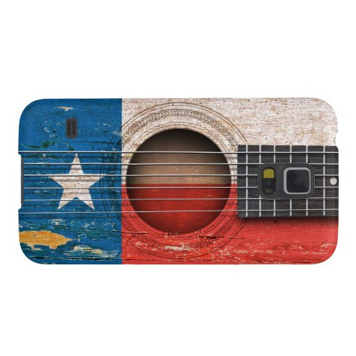 Texas Flag on Old Acoustic Guitar Galaxy S5 Cover