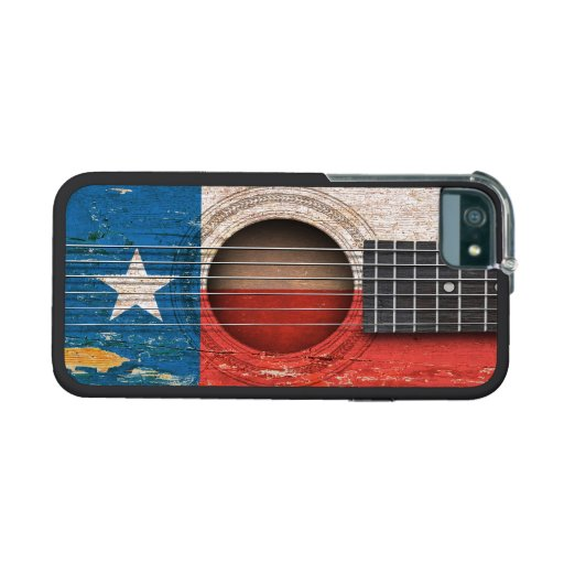 Texas Flag on Old Acoustic Guitar iPhone 5 Cases