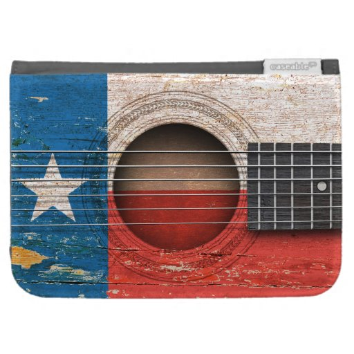 Texas Flag on Old Acoustic Guitar Kindle 3G Covers