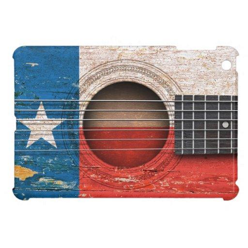 Texas Flag on Old Acoustic Guitar iPad Mini Cases