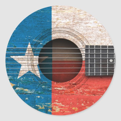 Texas Flag on Old Acoustic Guitar Sticker