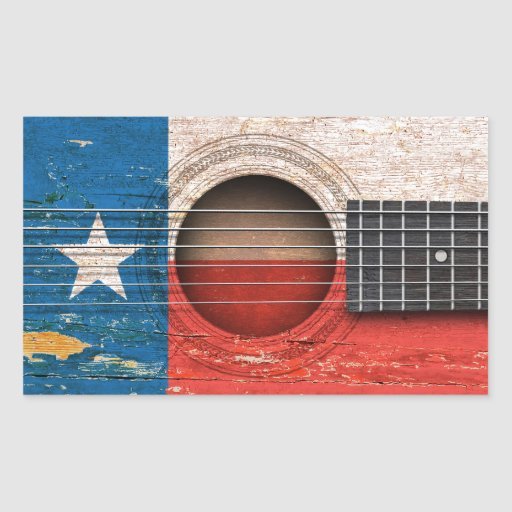 Texas Flag on Old Acoustic Guitar Rectangle Stickers