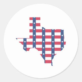 Texas Flag Outline Round Sticker