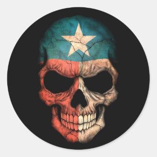 Texas Flag Skull on Black Stickers