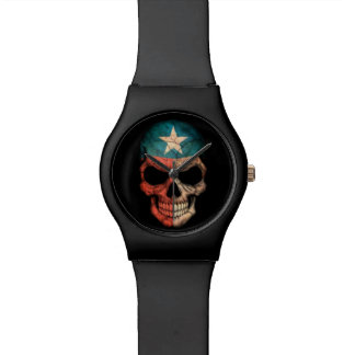 Texas Flag Skull on Black Watch