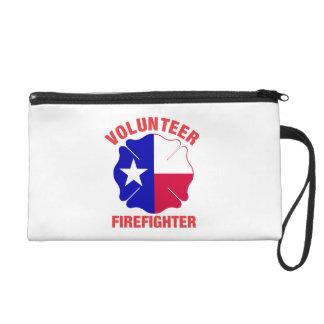 Texas Flag Volunteer Firefighter Cross Wristlet Clutch