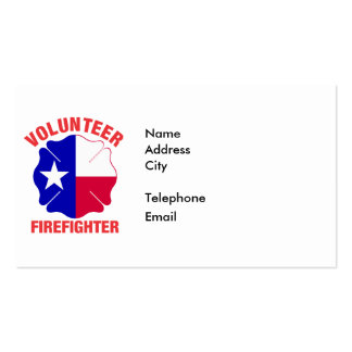 Texas Flag Volunteer Firefighter Cross Pack Of Standard Business Cards