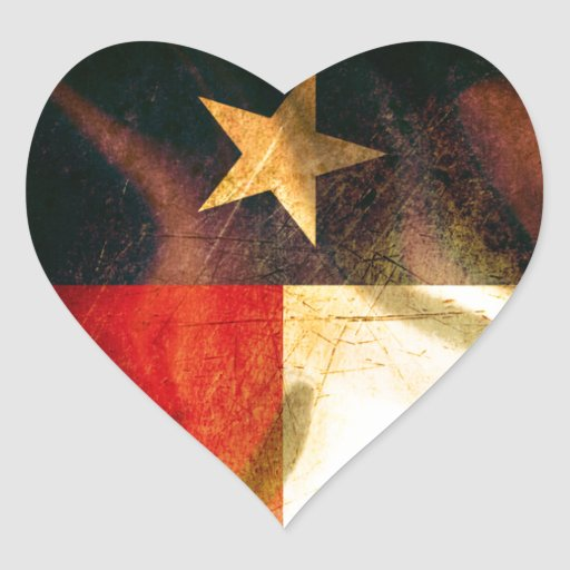 Texas Flag waving silk Heart Sticker