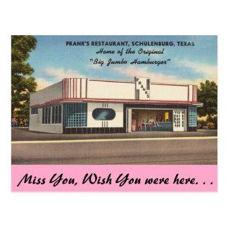 Texas, Frank's Restaurant, Schulenburg Postcard