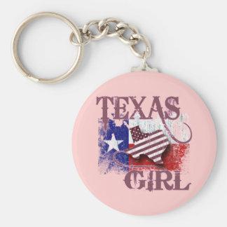 TEXAS GIRL BASIC ROUND BUTTON KEY RING