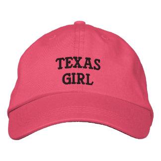 TEXAS, GIRL EMBROIDERED BASEBALL CAPS