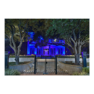 Texas Governor's Mansion Back the Blue - Wide Shot Photo Art