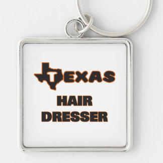 Texas Hair Dresser Silver-Colored Square Key Ring