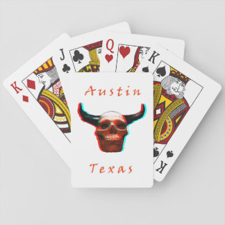 Texas  Halloween 3D Longhorn-Skull Playing Cards