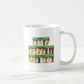 Texas Happy Christmas, cats in Santa hats. Coffee Mug