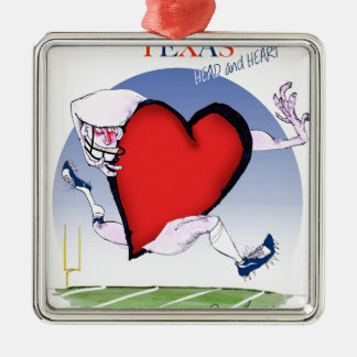 texas head heart, tony fernandes Silver-Colored square decoration