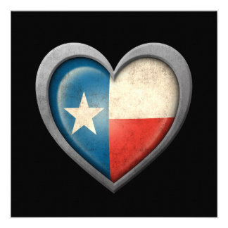 Texas Heart Flag with Metal Effect Custom Invites