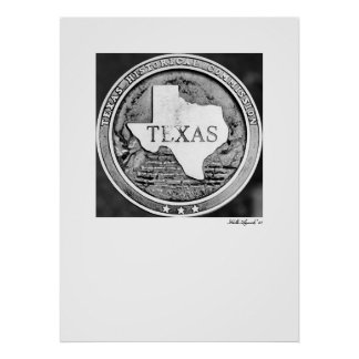 Texas Historical Society Seal in Bronze Posters