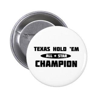 Texas Hold Em Champion Pinback Button