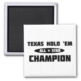 Texas Hold 'Em Champion Square Magnet