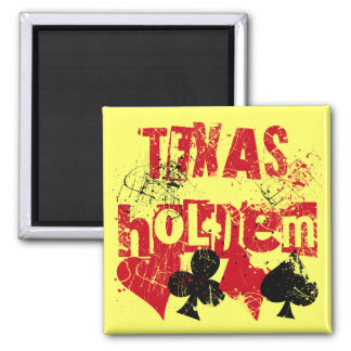 TEXAS HOLD EM - DISTRESSED AND PAINT SPLATTER FRIDGE MAGNETS
