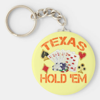 TEXAS HOLD 'EM - DISTRESSED BASIC ROUND BUTTON KEY RING