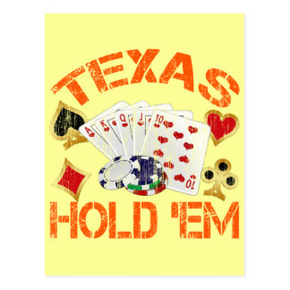 TEXAS HOLD 'EM - DISTRESSED POSTCARD