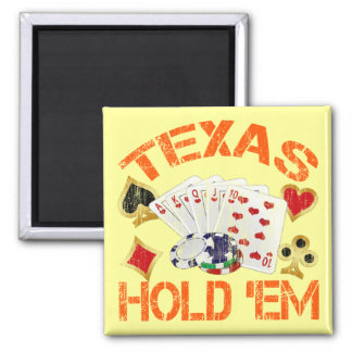 TEXAS HOLD 'EM - DISTRESSED SQUARE MAGNET