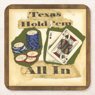 Texas Hold 'Em Hand with King and Ace Square Paper Coaster