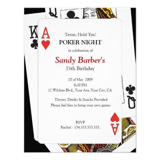 Texas Hold 'Em Poker Night - Party Invitation