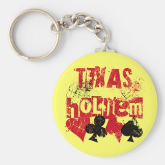 TEXAS HOLD'EM - DISTRESSED AND PAINT SPLATTER BASIC ROUND BUTTON KEY RING