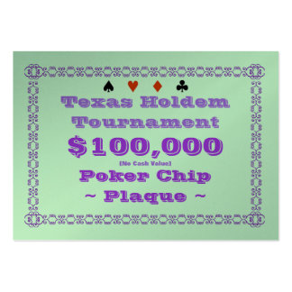 Texas Holdem Poker Chip Plaque $100k (100ct) Pack Of Chubby Business Cards