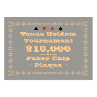 Texas Holdem Poker Chip Plaque $10k (100ct) Pack Of Chubby Business Cards