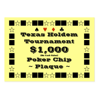 Texas Holdem Poker Chip Plaque $1k (100ct) Pack Of Chubby Business Cards