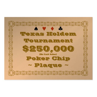 Texas Holdem Poker Chip Plaque $250k (100ct) Pack Of Chubby Business Cards