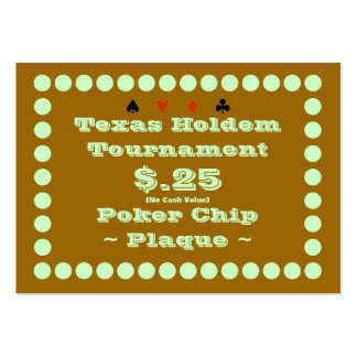 Texas Holdem Poker Chip Plaque $.25 (100ct) Pack Of Chubby Business Cards