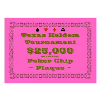 Texas Holdem Poker Chip Plaque $25k (100ct) Pack Of Chubby Business Cards