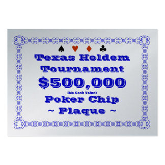 Texas Holdem Poker Chip Plaque $500k (100ct) Pack Of Chubby Business Cards