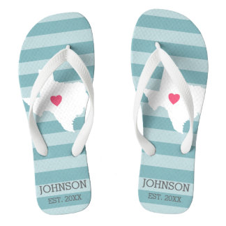 Texas Home State Love Wedding with Custom Heart Flip Flops