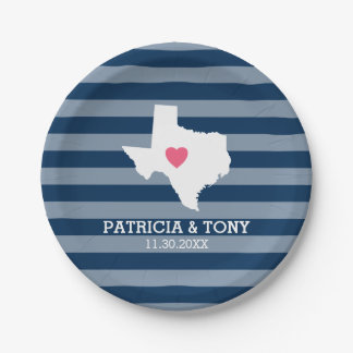 Texas Home State Love with Optional Custom Heart Paper Plate