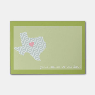 Texas Home State Love with Optional Custom Heart Post-it Notes