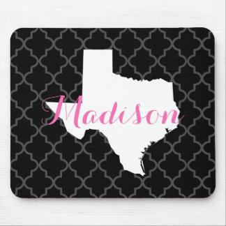 Texas Home State Quatrefoil Custom Monogram Mouse Mat